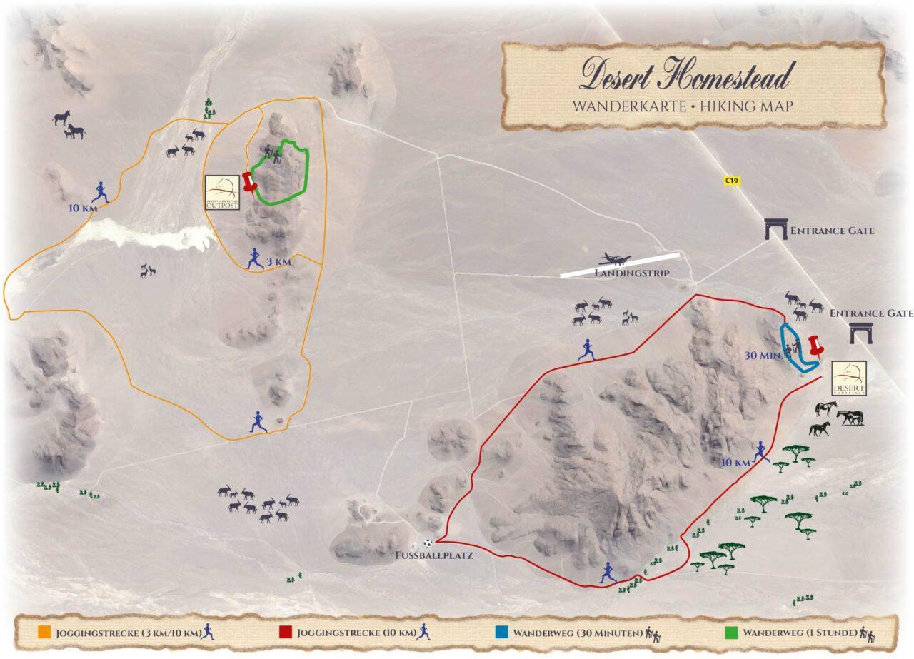 Wanderkarte der Desert Homestead Lodge und Desert Homestead Outpost