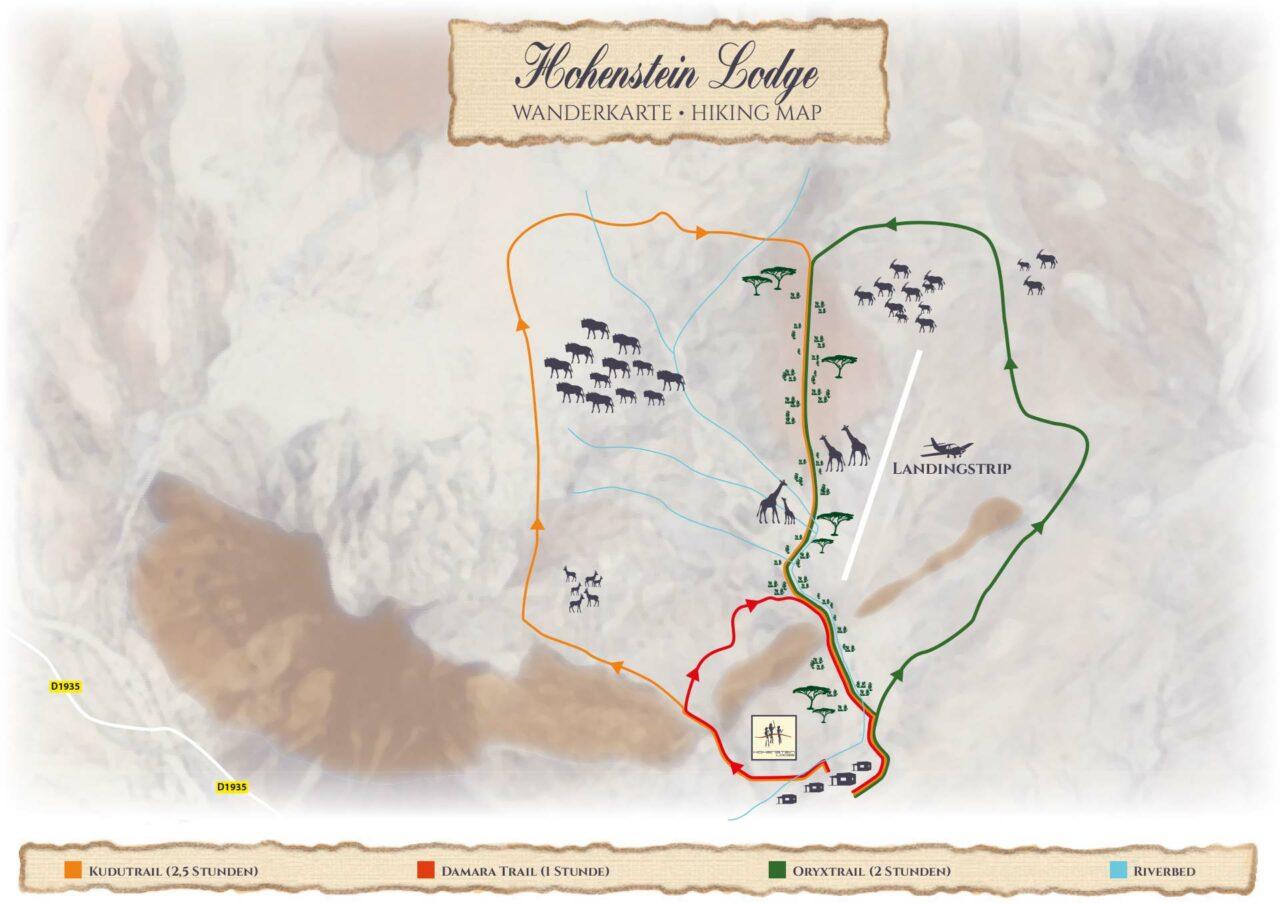 Wanderkarte der Hohenstein Lodge