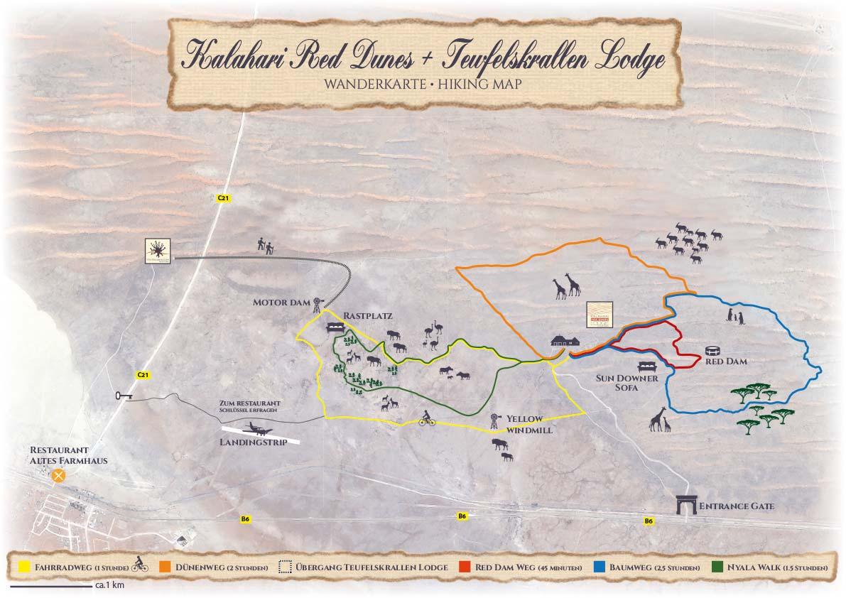 Wanderkarte der Kalahari Red Dunes Lodge und der Teufelskrallen Lodge